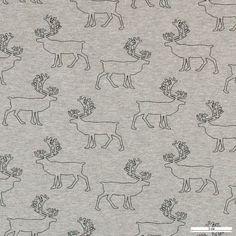Stretch jersey grå melange med hjorte - Stof & Stil