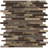 Found it at Wayfair - Lucente Random Sized Stone and Glass Linear Mosaic Blend in Vetro