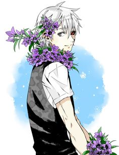 Ken, Tokyo Ghoul, another art with flowers. He looks so....happy. O_O