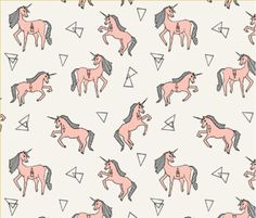Unicorn Fabric - Unicorn Love - Pale Pink Custom Fabric By Andrea Lauren - Unicorn Fabric with Spoonflower - Cotton fabric - By the yard