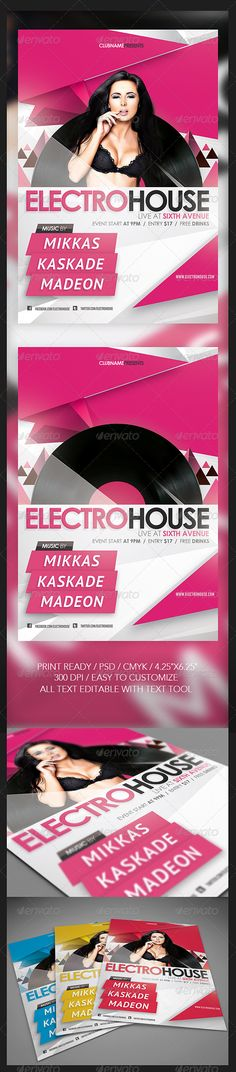 Electro House Flyer 4 PSD File With Different Colors Easy To Customize All Text Editable Tool Print Read
