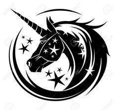 Unicorn head circle tattoo illustration with stars Stock Vector - 74537317