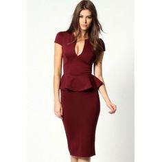 USD13.49Sexy V Neck Cap Sleeve Sleeveless Polyester Sheath Knee Length Dress