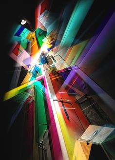 Artist Stephen Knapp creates technicolor masterpieces with light manipulated into radiant bursts using glass and stainless steel.