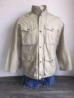 3193207e8e9fe Vtg FJALL RAVEN Jacket Hooded Full Zip Lightweight Outdoor Casual Khaki Sz  42 #Fjllrven #