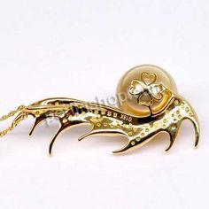 Goldene Südseeperlen Anhänger, mit 18 K Gold, rund, natürlich, mit Strass, goldfarben, Klasse AAA, 11-12mm, verkauft von Stück - perlinshop....