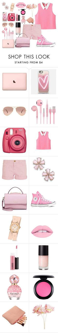 """""""Pink"""" by kirarj ❤ liked on Polyvore featuring Casetify, Ray-Ban, Fujifilm, Current/Elliott, WithChic, Converse, Michele, MAC Cosmetics, Marc Jacobs and Pier 1 Imports"""