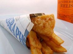 cute fish & chips cone... and idea for wedding food.