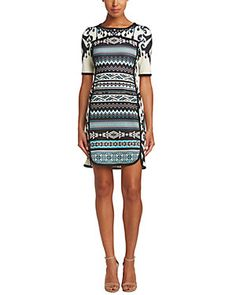 Hale Bob 3/4 Sleeve Printed Shift Dress