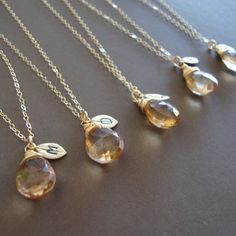 Bridesmaid necklaces. love this idea