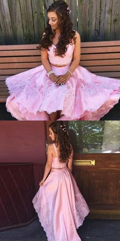 Pink Two-pieces Lace High Low Prom Dress,pink Evening Dress,lace Homecoming Dresses Two Piece Homecoming Dress, Lace Homecoming Dresses, Elegant Prom Dresses, Hoco Dresses, Dresses For Teens, Beautiful Dresses, Bridesmaid Dresses, Formal Dresses, Party Dresses