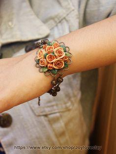 beige polymer clay rose bracelet, flowers bracelet, vintage bracelet , jewelry , bronze by Joyloveclay