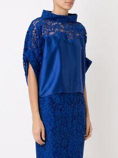Martha Medeiros lace panel crop blouse