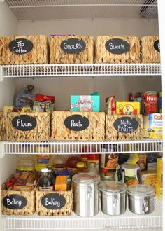 tip for organizing a pantry, closet, organizing, Baskets to help organize different food categories