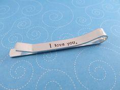 Hidden Message Tie Bar, Personalized Tie Bar, Tie Tack, Handstamped Monogram Gift for Him, Aluminum Tie Clip