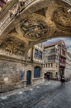 Rouen, Haute-Normandie, France - they just don't make things like they use to! If you could create, what would it be? Places Around The World, Oh The Places You'll Go, Places To Travel, Places To Visit, Around The Worlds, Wonderful Places, Beautiful Places, Beautiful Gorgeous, Ville France