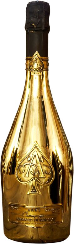 Armand De Brignac Ace of Spades Gold is a blend of Chardonnay, Pinot Noir and Pinot Meunier. Shop Armand De Brignac at Harrods. This bottle would add a bit of fun and bubbles to any gathering. Black and Gold Party inspiration, maybe? Armand De Brignac, Spade Champagne, Gold Champagne, Wedding Champagne, Gold Wedding, Or Noir, Ace Of Spades, Sparkling Wine, Whisky