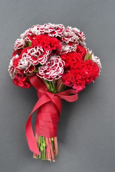 Cherry Carnation and Celosia bouquet.
