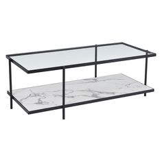 Winslett Coffee Table in Matt Black & Stone - Zuo Modern and decidedly handsome. This coffee table with its unique leg placement is the perfect accent in front of your sofa. The lower shelf in faux white marble is visible from every an Rectangle Glass Coffee Table, Faux Marble Coffee Table, Coffee Table With Shelf, Black Coffee Tables, Modern Coffee Tables, Marble Shelf, Sofa End Tables, Table Furniture, Glass Furniture