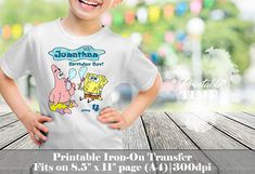 Spongebob Iron on Transfer Printable iron on transfer