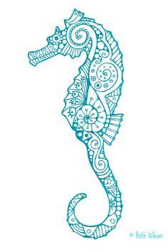 Valtavan upea merihevonen Seahorse Drawing, Seahorse Painting, Seahorse Tattoo, Seahorse Art, Dot Painting, Stone Painting, Seahorses, Baby Seahorse, Tattoo Costillas