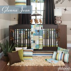 Liam is all about rounded edges. Soothing shades of avocado, sky, taupe, and indigo make up this contemporary set made of 100% cotton, with soft velvet and woven stripe accents. Set includes quilt, print sheet, and crib skirt.  http://www.pishposhbaby.com/glenna-jean-liam-3pc-set.html