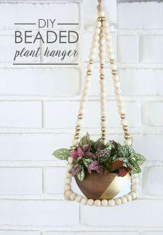 DIY Beaded Plant Hanger - thecraftedsparrow.com