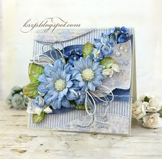 Hello everyone Today I& like to share with you a card in blue colors. I made the big flowers using WOC summer blooms and cream flower cab. Flower Cards, Paper Flowers, Blue Flowers, Exotic Flowers, Yellow Roses, Pink Roses, Heartfelt Creations Cards, Shabby Chic Cards, Pretty Cards