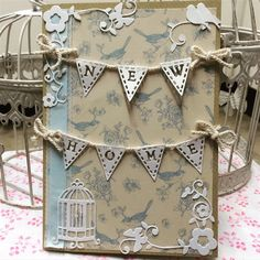 ChrissyBil   docrafts.com Shabby chic style new home birdcage card made using my new Tattered Lace alphabet bunting die