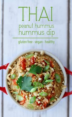 This Thai Peanut Hummus dip will become your favourite hummus recipe. Its sweet, tangy, nutty and spicy and is totally gluten free, vegan and super healthy.