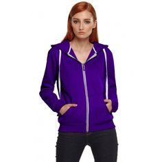 Stylish Ladies Women Long Sleeve Solid Hooded Coat Zipper Hoodies Casual Sports Outerwear Leisure Sweatershirt