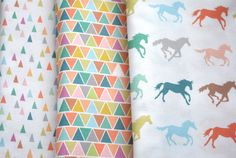 gallop  horse fabric  original fabric  fat by KatherineCodega, $9.00 - love the colours and the silhouettes!