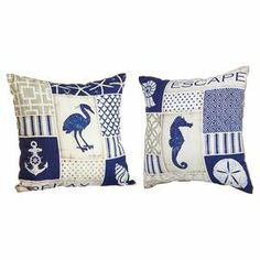 """Add stylish appeal to your sofa, chaise, or bed with this eye-catching burlap and cotton pillow, showcasing a multicolor nautical-inspired motif.   Product: Set of 2 pillowsConstruction Material: Burlap and cottonColor: MultiFeatures: Inserts includedDimensions: 18"""" x 18"""""""