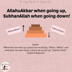 Al-Bukhari narrated in his Saheeh that Jabir ibn 'Abd-Allah (may Allah be pleased with him) said: When we went up we would say takbeer (Allahu Akbar) and when we went down we would say tasbeeh (Subhan Allah). Islamic Qoutes, Islamic Teachings, Islamic Messages, Islamic Dua, Islamic Inspirational Quotes, Muslim Quotes, Religious Quotes, Islam Religion, Islam Muslim