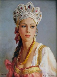 Russian beauty in one of her country's traditional head-dresses -- by Vladislav Nagornov (Russian, b.1974)