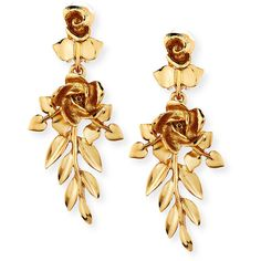 Oscar De La Renta Rose and Leaf Vine Drop Earrings (7 475 UAH) ❤ liked on Polyvore featuring jewelry, earrings, accessories, jewelry earrings, light gold, rose drop earrings, oscar de la renta earrings, leaves jewelry, leaves earrings and leaf earrings