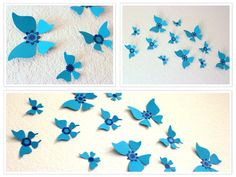 Set of 10 Blue Butterfly Wall Art Vintage Model by MyDreamDecors