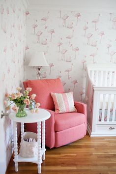 Flamingos are having their moment in the spotlight and so to is wallpaper. Now mash each of those pretty details together and this Cole & Sons papered nursery is the result. Blending vintage finds and family heirlooms with modern accessories and Decoration Bedroom, Boys Room Decor, Bedroom Themes, Boy Room, Girls Bedroom, Bedroom Ideas, Room Baby, Nursery Ideas, Master Bedroom