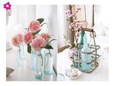 Arreglos de flores para boda en botellas
