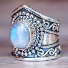 Moonstone Ring The Moonstone is highly valued and is said to bring good fortune in love, business and health. BIRTH MONTH :June ZODIAC :Cancer, Libra and Scorpio CHAKRA :Third Eye - Ability to focus This beautiful ring is made with 925 Sterling Silver and a stunning single Rainbow Moonstone Available in our 'Luna' Collection