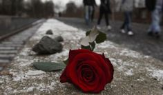 A rose on the tracks at the train station Grunewald from where the Jews of Berlin were sent to Auschwitz, on Holocaust remembrance day in Berlin, Germany.
