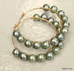 Pearl & Gold Filled Hoop Earrings, $34.46 maggiesjewelry on ArtFire