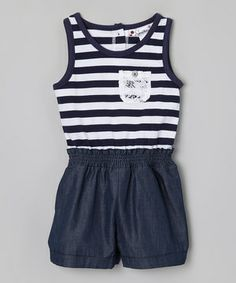Loving this Navy & White Stripe Pocket Romper - Toddler & Girls on #zulily! #zulilyfinds