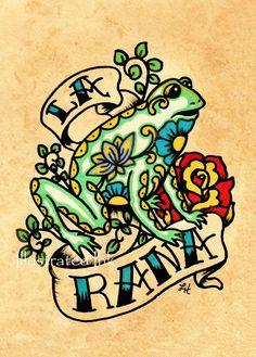 Mexican Folk Art Frog LA RANA Loteria Print 5 x by illustratedink, $9.50