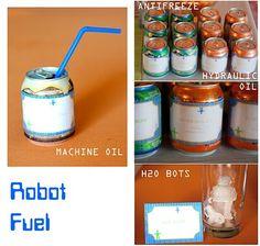 robot birthday party drinks