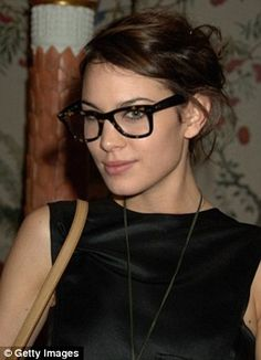 Geek chic: Alexa Chung, in industrial style frames    INDUSTRIAL FRAMES  Industrial style glasses with thick, dark rims should be worn as a real fashion statement. The look is bold and androgynous but you can add glamour and femininity by wearing with bright lipstick.     IT IS RIGHT FOR YOU? OUR EXPERT SAYS: 'This style is great for people with strong features such as wide cheekbones or large lips and eyes. With a strong face shape and features 50s inspired bold styles work best.'