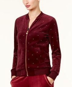 Michael Michael Kors Embellished Velour Bomber Jacket - Tan/Beige XS
