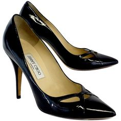 Pre-owned  Jimmy Choo Black Patent Leather Cut Out Toe Heels ($199) ❤ liked on Polyvore featuring shoes, pumps, patent pumps, black pointy-toe pumps, black high heel shoes, black shoes and jimmy choo pumps