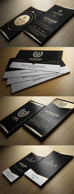 Gold And Black Business Cards #businesscards #businesscarddesign #psdtemplates #corporatedesign