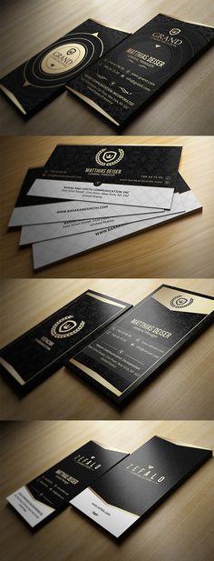 Gold And Black Business Cards #businesscards #businesscarddesign #psdtemplates #corporatedesign